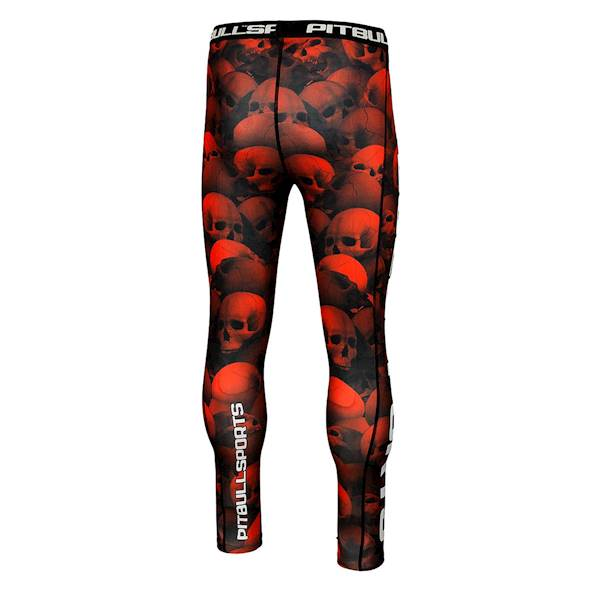 Compression Pants SKULL by Pit Bull West Coast red