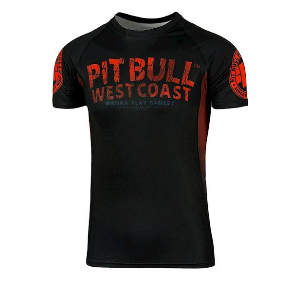 Pit Bull West Coast Short Sleeve Rashguard Wanna Play Games