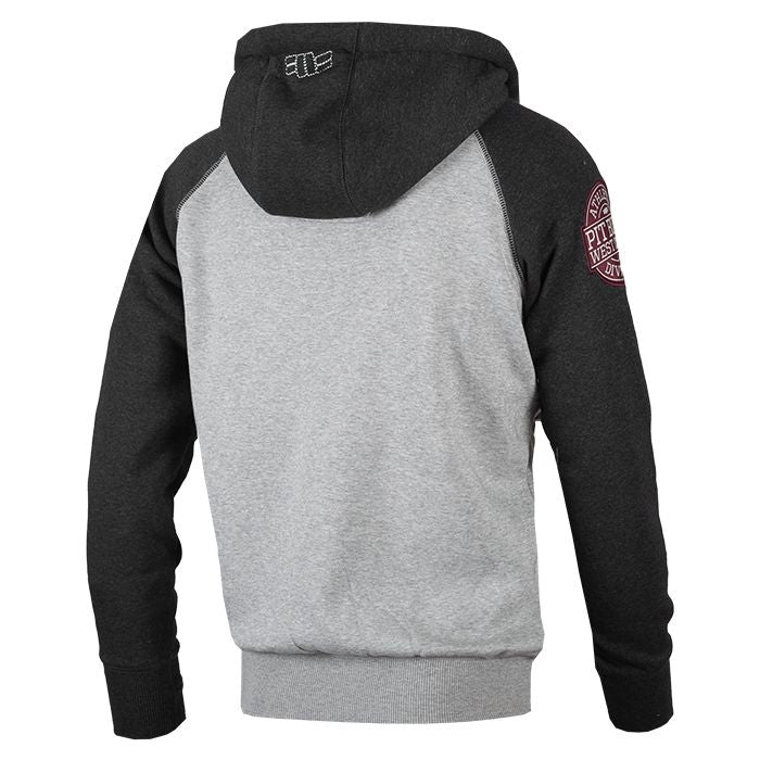 PIT BULL WEST COAST Hooded Zip Sweatshirt Athletic Grey/Charcoal GREY