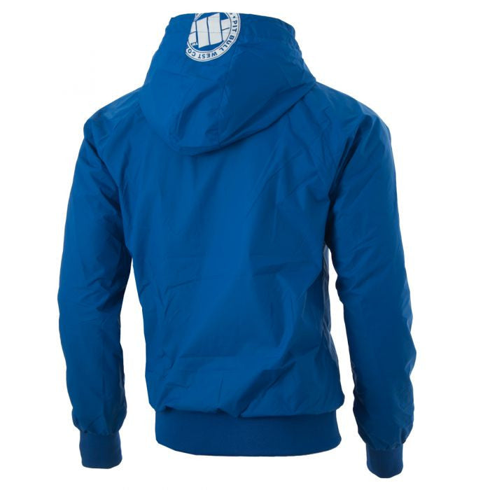 Athletic V Nylon Hooded Windbreaker Jacket in Blue