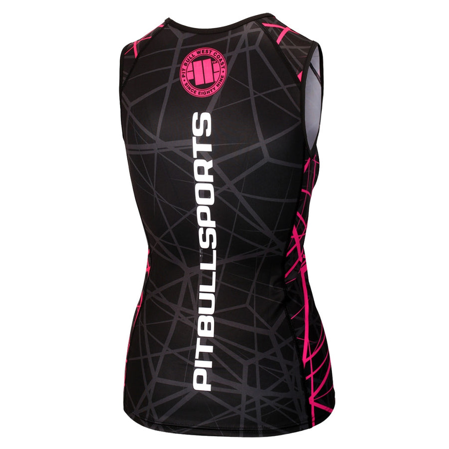 pitbull sports women rashguard vest tank top sleeveless ray pink