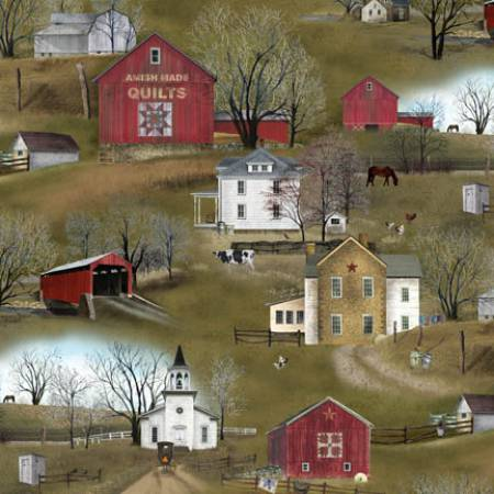 Amish Houses\Barns\ Covered Bridges fabric by the yard