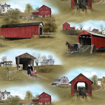 Amish Buggy Covered Bridges fabric by the yard