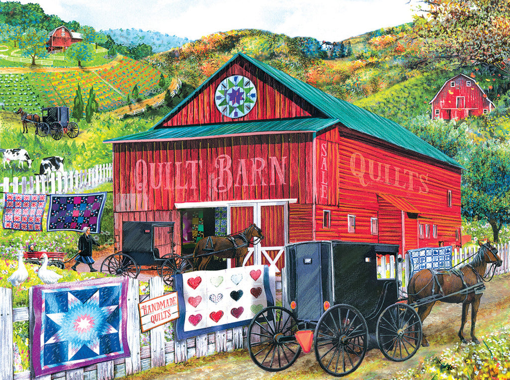 Stopping at the Quilt Barn Jigsaw Puzzle