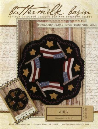 Folkart Penny Mats through the Year July Flags pattern