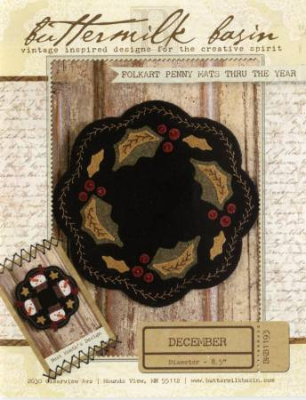 Folkart Penny Mats through the Year Dec Holly Basket pattern