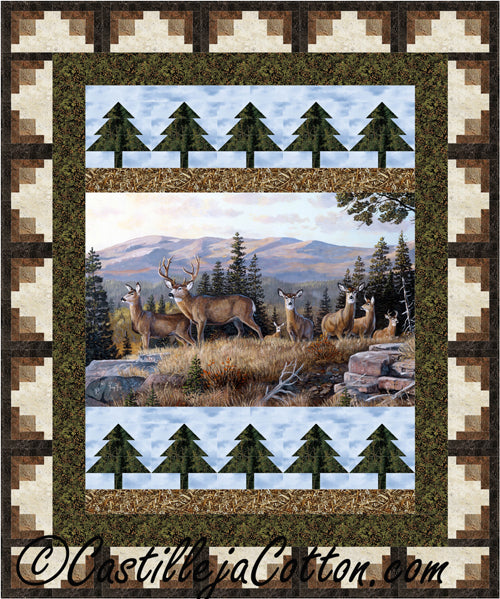 Log Cabin Trees Panel Quilt Pattern