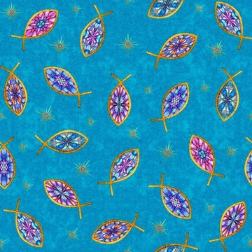 Faith Tossed Fish Fabric 1\2 yard