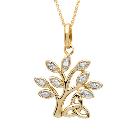 Shanore 14K. Tree of Life Necklace with Diamonds