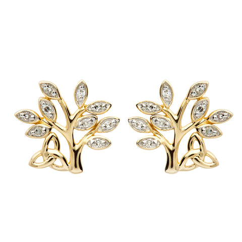 Shanore 14K. Gold and Diamond Tree of Life Stud Earrings