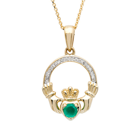 Shanore 14K. Diamond and Emerald Claddagh Pendant