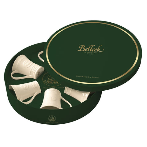 Belleek Classic Claddagh Six Mugs Gift Box