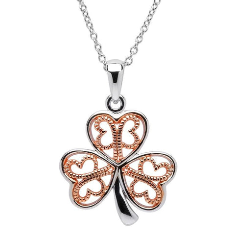 ShanOre Silver Filigree Rose Gold Plated Shamrock Pendant