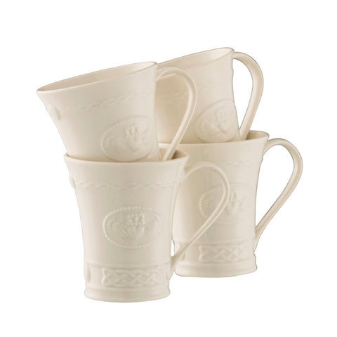 Belleek Set of 4 Claddagh Mugs