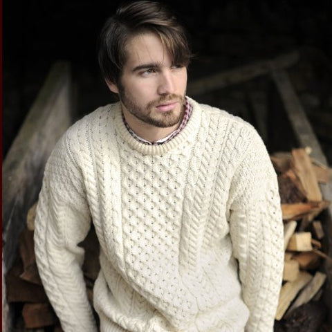 Aran Traditional Crew Sweater in Natural