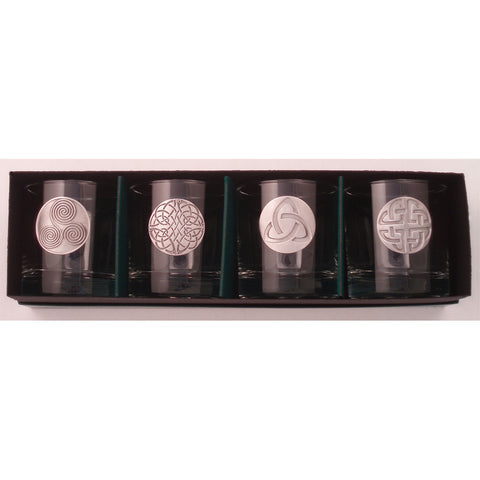 Lo-Ball Whiskey Glass Set of 4 - Celtic Knots Pewter