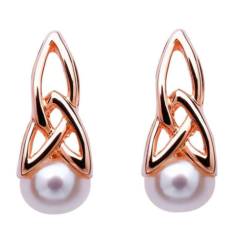 ShanOre Celtic Silver Pearl Rose Gold Plated Earrings