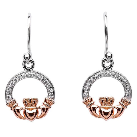 ShanOre Claddagh Stone Set Silver Rose Gold Plated Earrings