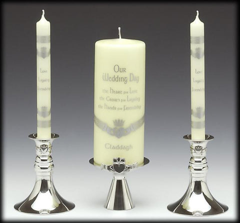 Mullingar Pewter 3 Piece Claddagh Candle Holders/Unity Candle Holders