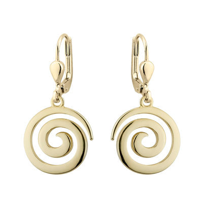 Gold Plated Celtic Swirl Drop Earrings