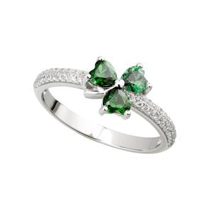 Solvar Crystal Shamrock Ring in Sterling Silver