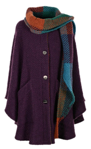 Branigan Weavers Tina Cape in Mulberry