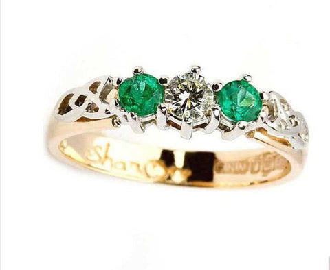 Shanore Emerald and Diamond 14K. Gold Celtic Trinity 3 Stone Ring