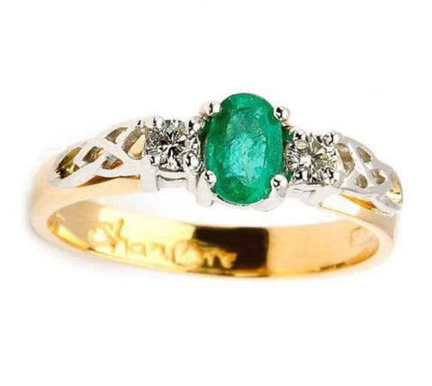 Shanore Diamond and Oval Emerald 14K. Gold Celtic Trinity 3 Stone Ring