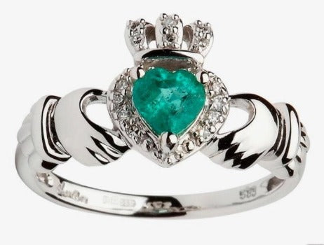 ShanOre 14k White Gold Ladies Empress Claddagh Ring With Emerald & Diamond