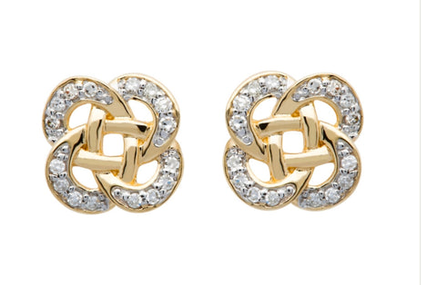 Shanore 14K. Diamond Round Celtic Earrings
