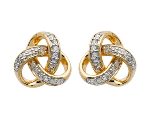Shanore 14K. Gold and Diamond Rounded Trinity Knot Earrings