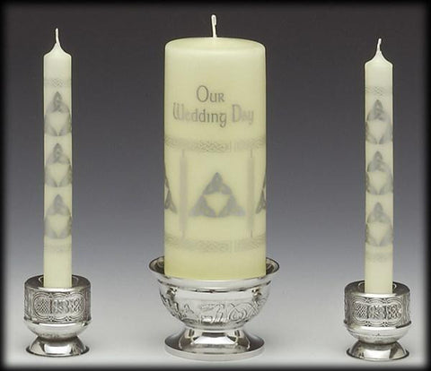 Mullingar Pewter 3 Piece Celtic Candle Holders/Unity Candle Holders