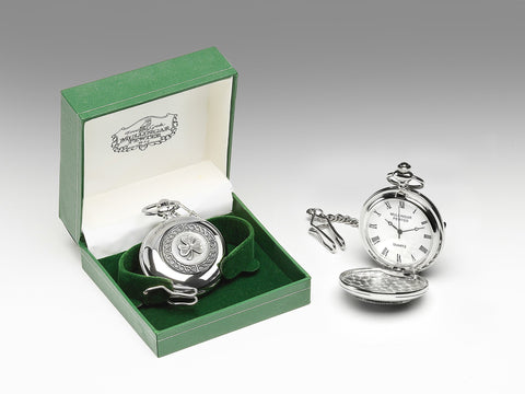 Mullingar Pewter Shamrock Pocket Watch