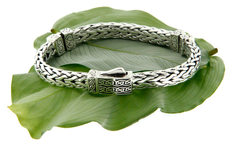 Keith Jack Sterling Silver Celtic Square Hinged Dragon Bracelet