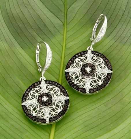 Keith Jack Sterling Silver and Brown CZ Drop Earrings