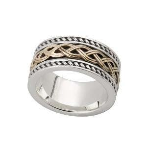 Solvar Wide Men's Sterling & 10K. Celtic Knot Band