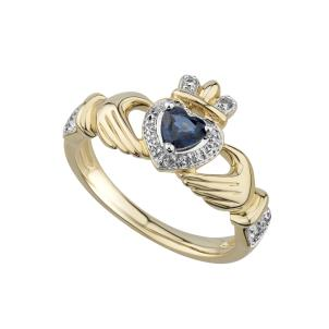 Solvar 14 Karat Yellow Gold Sapphire and Diamond Claddagh Ring