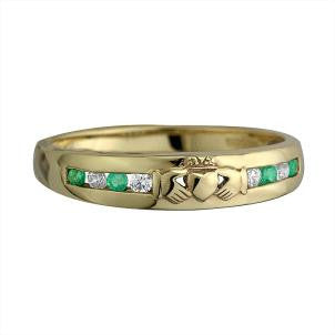 Solvar 14K. Yellow Gold Emerald and Diamond Claddagh Eternity Ring