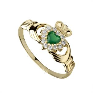 Solvar 10K. Gold Green Agate and CZ Claddagh Ring
