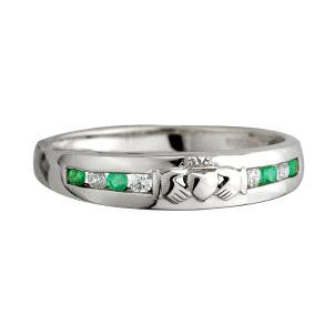 Solvar 14K. White Gold Emerald and Diamond Claddagh Eternity Ring