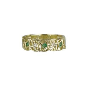 Solvar 14K. Diamond & Emerald Trinity Knot Ring