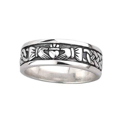 Solvar Sterling Men's Claddagh Celtic Knot Band