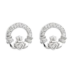 Solvar 14K White Diamond Claddagh Earrings