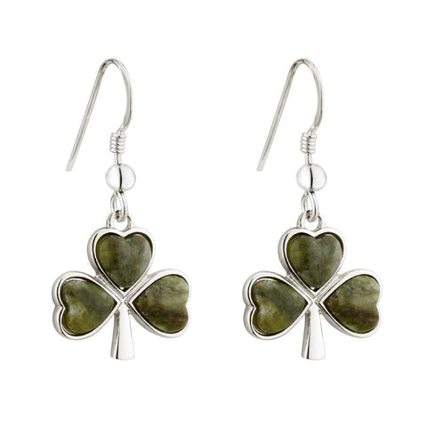 Solvar Rhodium Silver Marble Shamrock Drop Earrings
