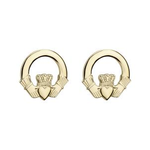 14 K. Yellow Gold Medium Claddagh Stud Earrings