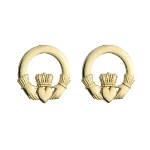 14 K. Yellow Gold Small Claddagh Stud Earrings