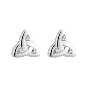 Solvar 14K. White Gold Diamond Trinity Knot Stud Earrings