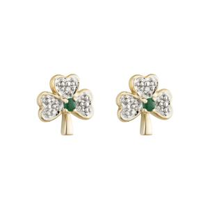 Solvar 14K. Diamond & Emerald Shamrock Stud Earrings