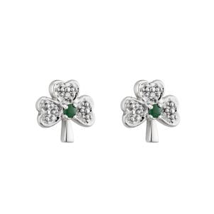 Solvar 14K. White Gold Diamond & Emerald Shamrock Stud Earrings