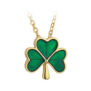 Solvar Gold Plate Green Enamel Shamrock Necklace